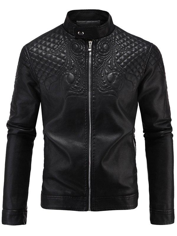 Embroidered Fleece Zip-Up PU-Leather Jacket fleece graphic embroidered pu leather jacket
