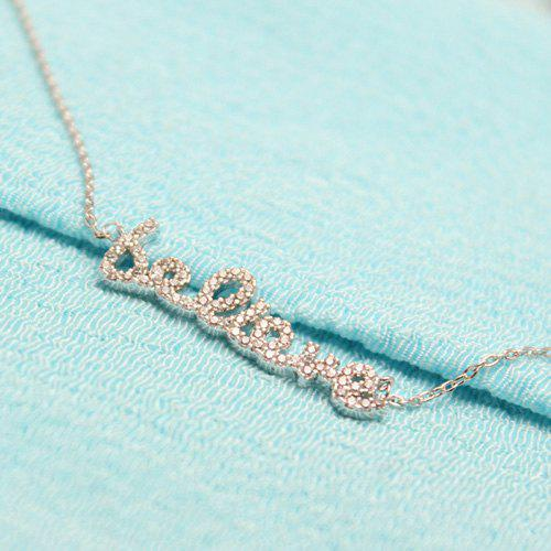 Collier d'amour strass - Argent