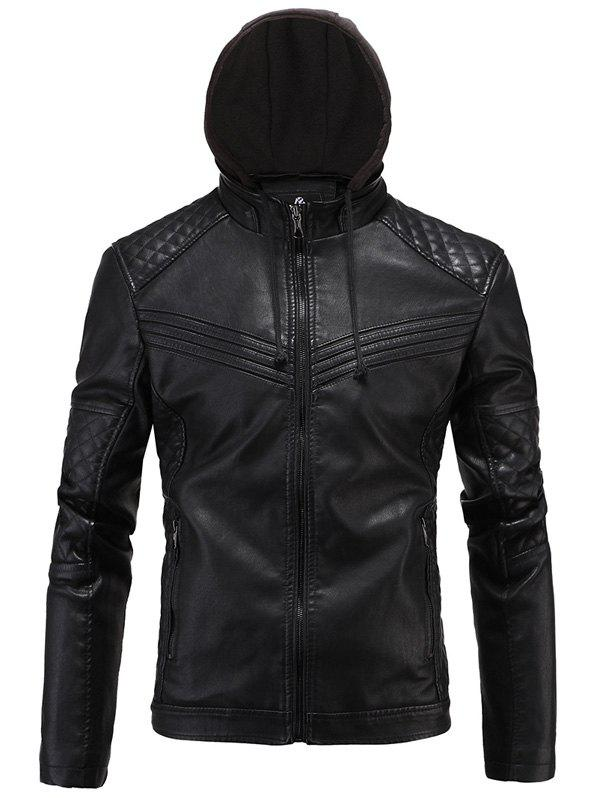 Argyle Spliced ​​Fleece Zip-Up PU-Veste en cuir - Noir 2XL