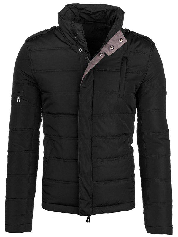 Conception Epaulet Zip-Up Elbow Patch Veste matelassée - Noir XL