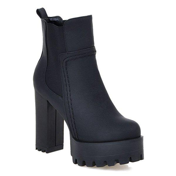 Chunky Heel Platform Elastic Band Ankle Boots, BLACK in Boots ...
