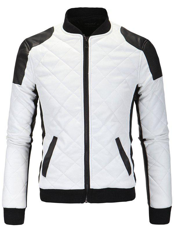 Zip-Up Cotton-Padded Argyle Color Block Splicing PU-Leather Jacket