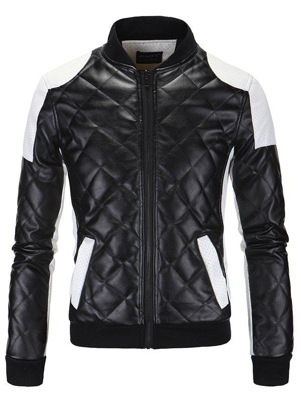 Zip-Up coton matelassé Argyle Color Block Splicing PU-Leather Jacket - Noir L