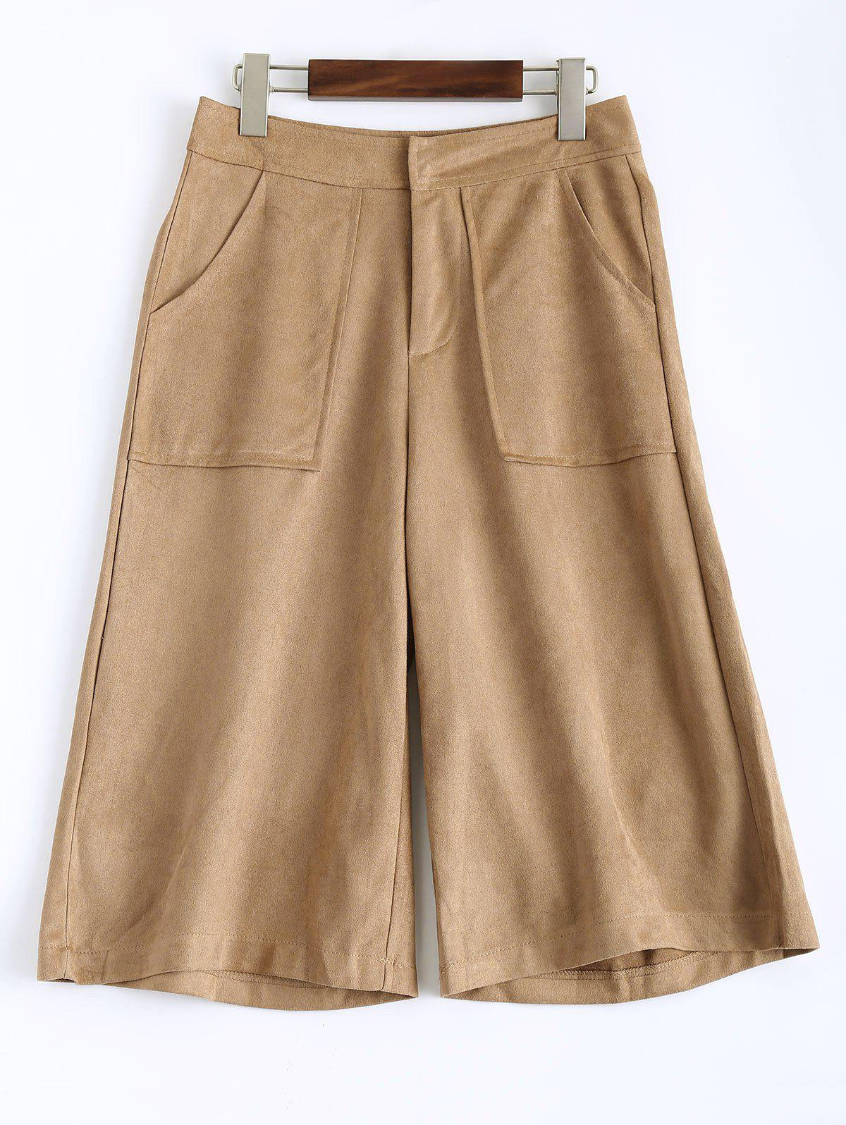 Sueded Cropped Wide Leg Pants - LIGHT CAMEL M