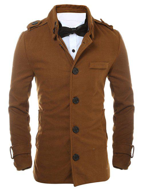 Simple boutonnage Epaulet design fendue dans le dos Manteau - BRUN 2XL