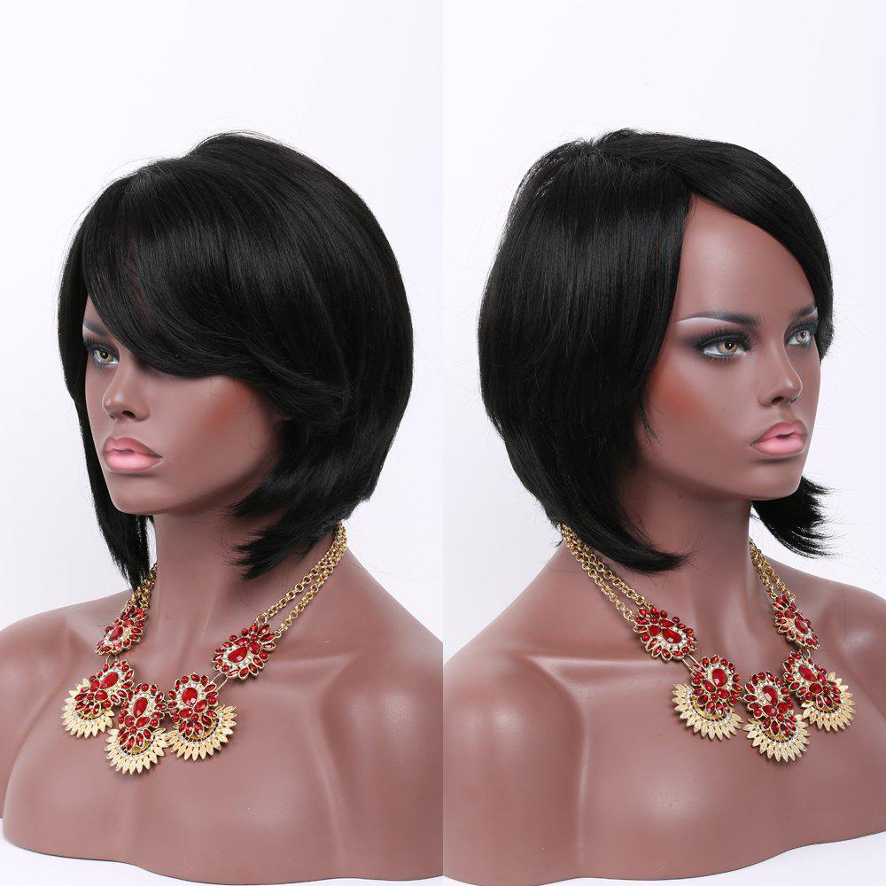 Short Side Bang Straight Faddish Synthetic Hair Wig - BLACK