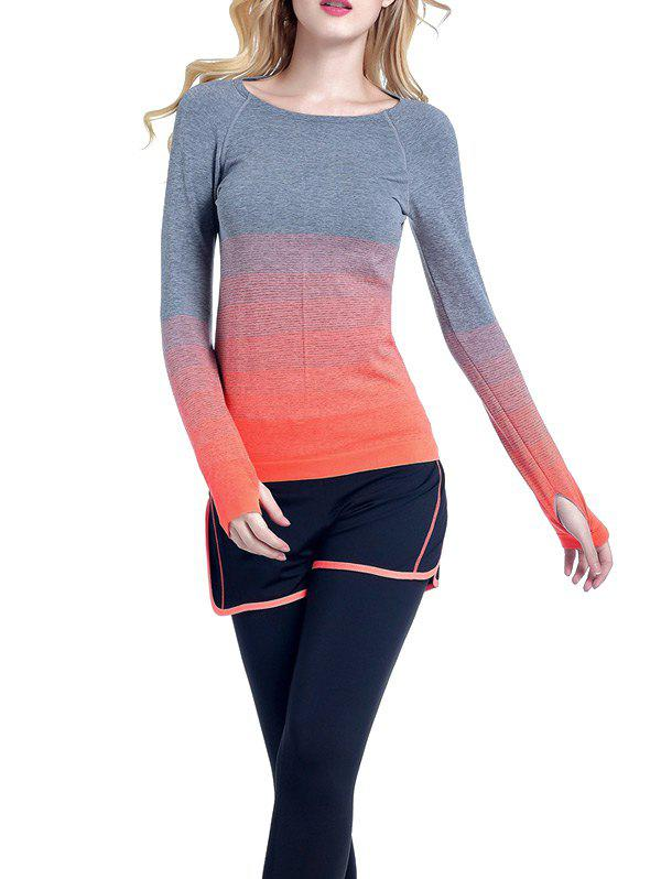 Col rond Ombre Yoga Gym T-shirt - Orange L