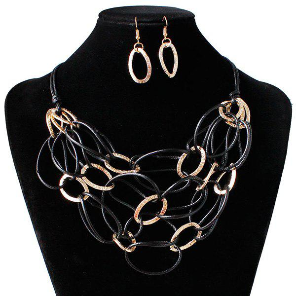 Interlace PU Leather Woven Necklace Set - BLACK