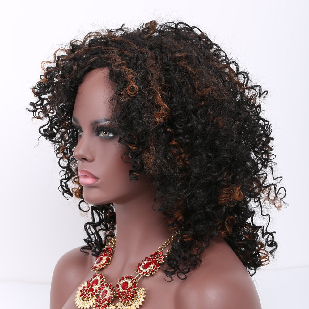 Medium Afro Curly Side Bang Mixed Color Synthetic WigHair<br><br><br>Color: COLORMIX