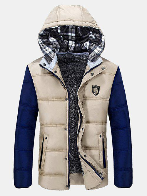 Zip-Up Color Block Hooded Quilted Jacket striped zip up hooded quilted jacket