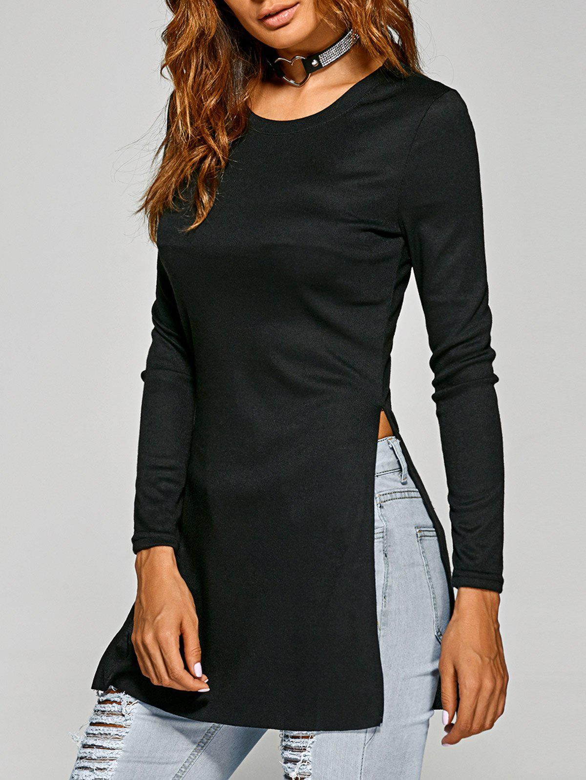 Side Slit Plain Long Sleeve Slimming T-Shirt - BLACK XL