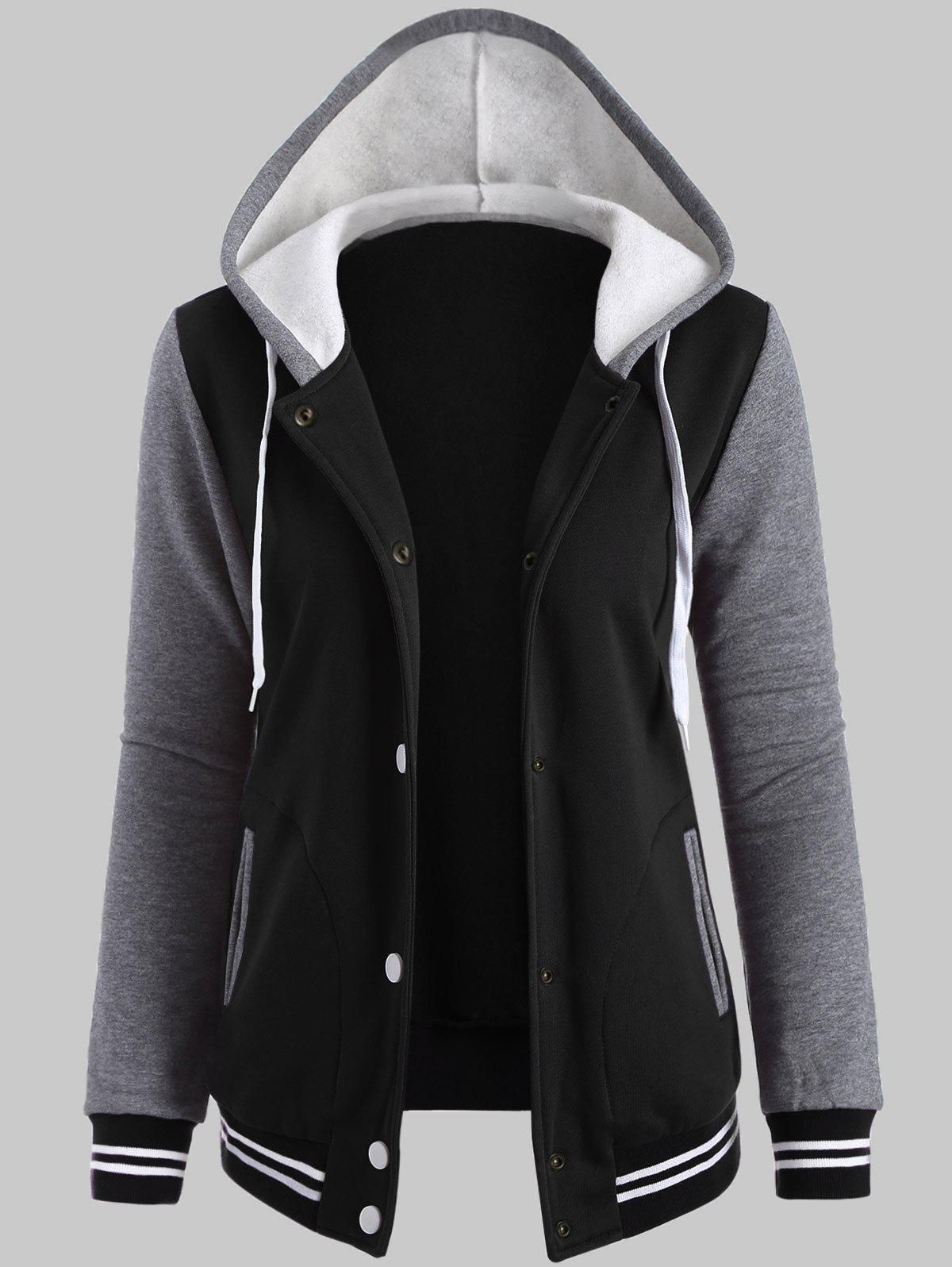 Fleece Baseball Jacket with Hood, BLACK, XL in Plus Size Outerwear ...