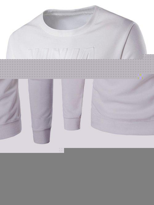 3D Emboss Graphic Crew Long Neck Sweatshirt manches - Blanc XL
