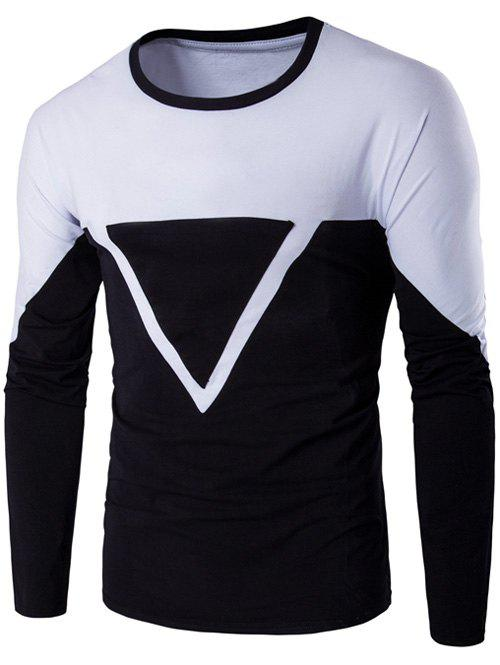 Color Block Triangle Applique Long Sleeve T-Shirt - WHITE 5XL