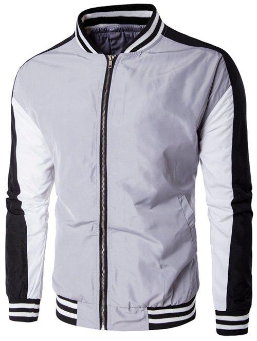 Stand Collar Color Block Striped Splicing Zip-Up Jacket
