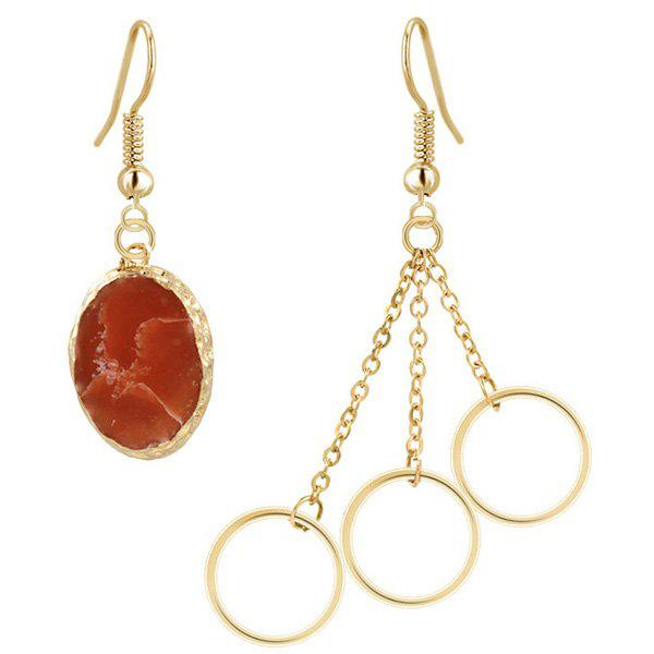 Mixed Match Natural Stone Circle Dangle Earrings, Golden