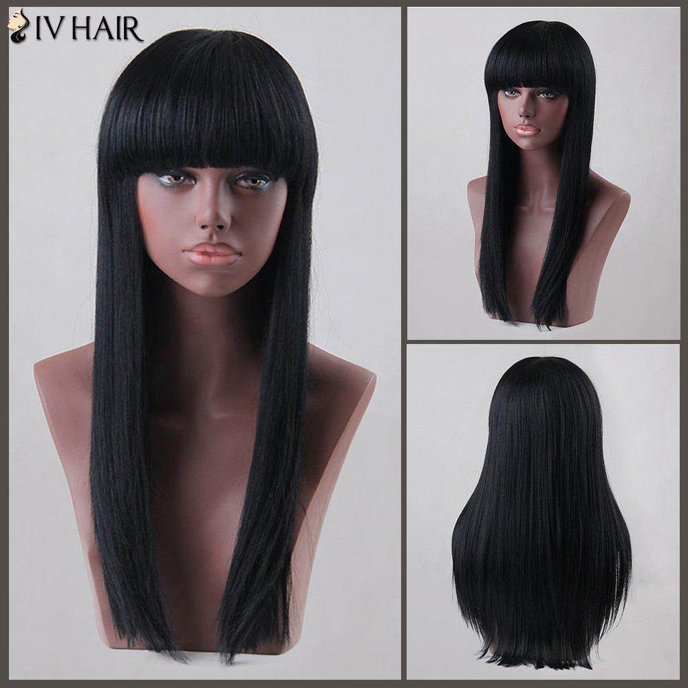 Sunny Long Neat Bang Straight Siv Human Hair Wig - JET BLACK
