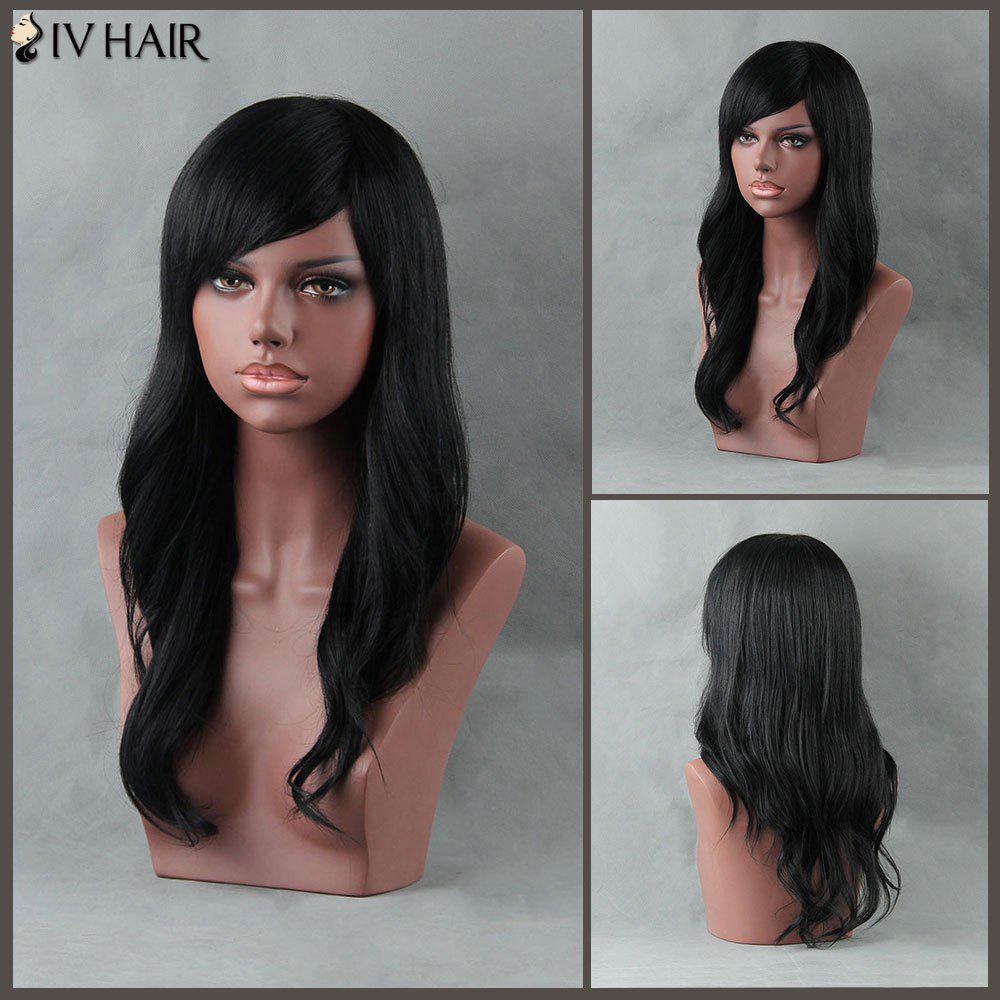 Long Slightly Curled Side Bang Siv Human Hair Wig - JET BLACK