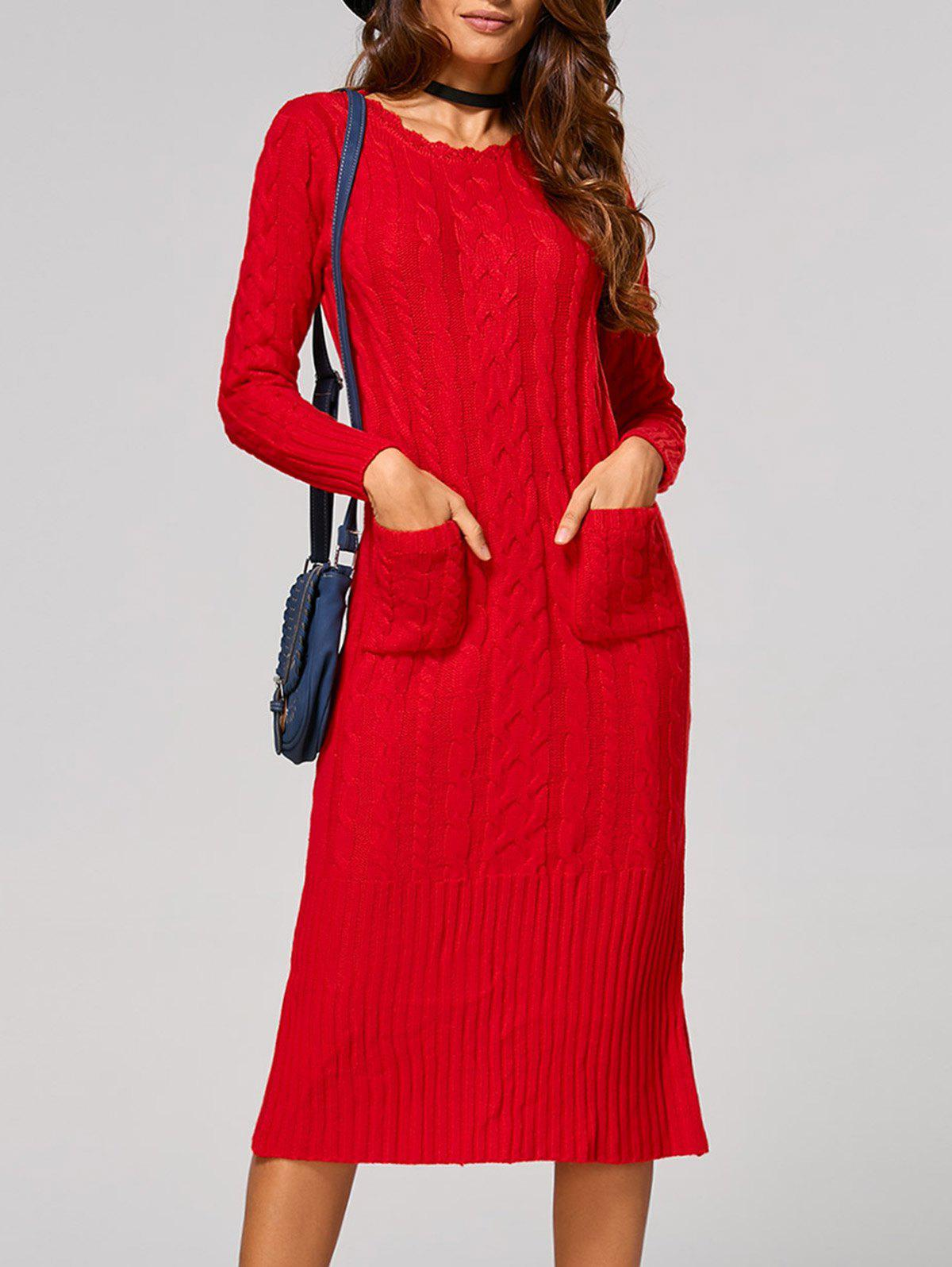 Cable Knit Back Slit Longline Sweater Dress tommy hilfiger new women s medium m blue combo cable knit sweater dress $98 017