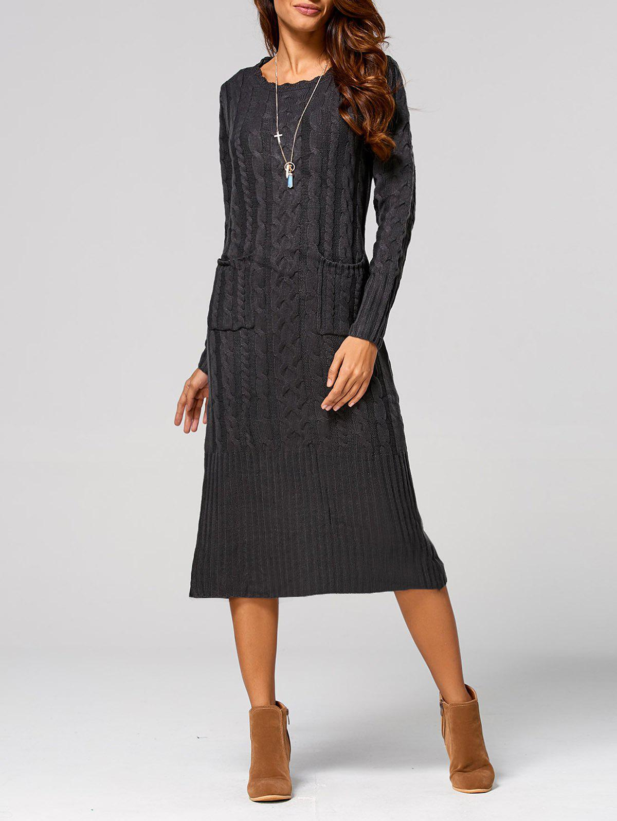 Cable Knit Back Slit Longline Sweater Dress charter club new blue sky women s medium m cable knit crewneck sweater $59 359