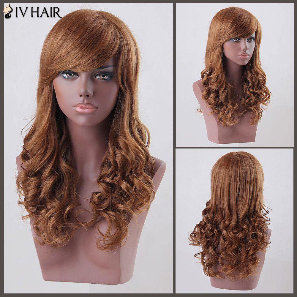 Long Curly Side Bang Siv Human Hair Wig - AUBURN BROWN