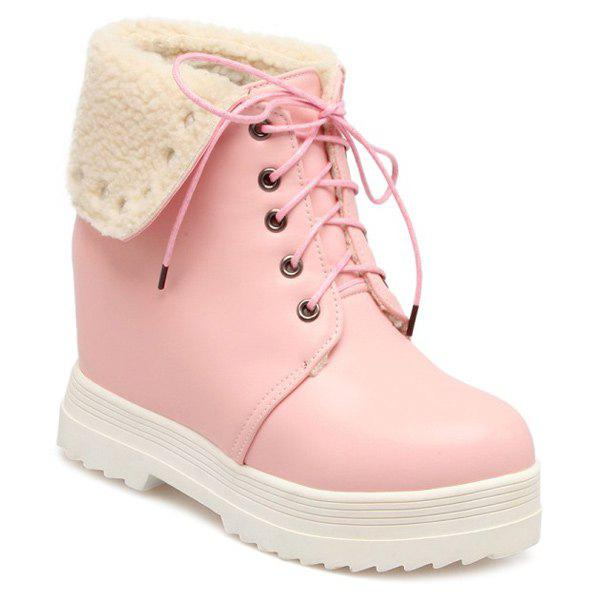 Faux Shearling Hidden Wedge Lace-Up BootsShoes<br><br><br>Size: 39<br>Color: PINK