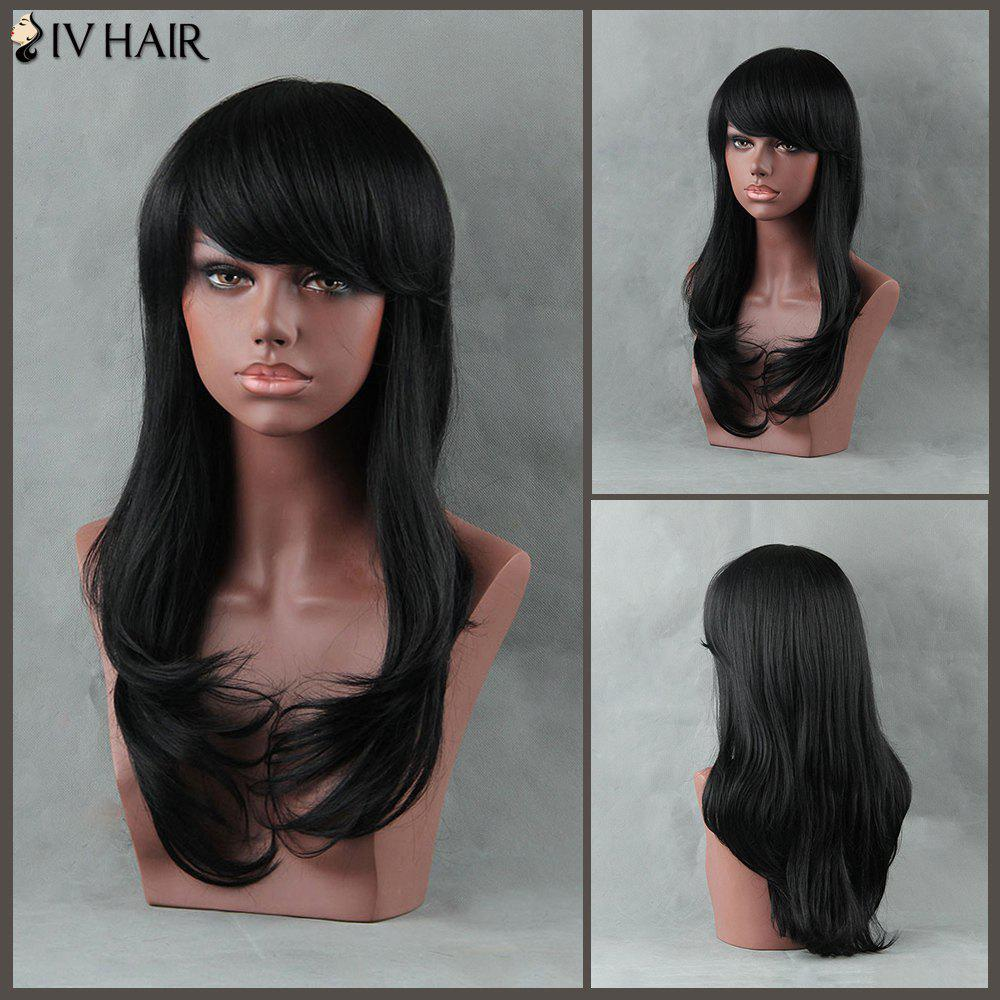 Long Tail Adduction Side Bang Siv Human Hair WigHair<br><br><br>Color: JET BLACK