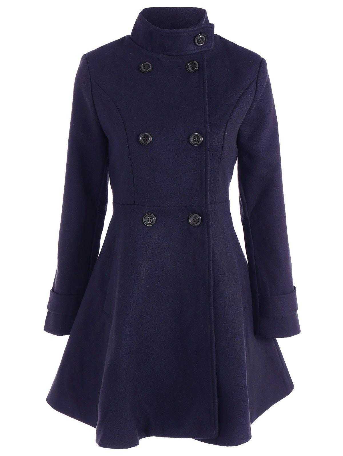 Double Breasted Skirted CoatWomen<br><br><br>Size: 2XL<br>Color: CADETBLUE