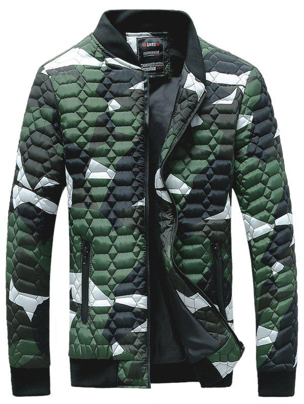 Stand Collar Printed Geometric Pattern Quilted Jacket