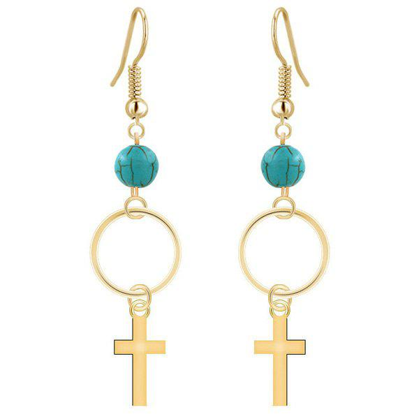 Turquoise Circle Cross Drop EarringsJewelry<br><br><br>Color: GOLDEN