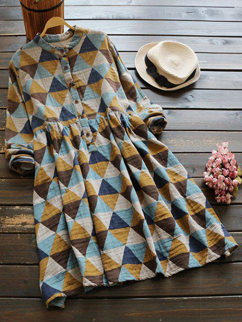 Buttoned Long Sleeve Geometric Smock Checked Shirt Dress - COLORMIX ONE SIZE