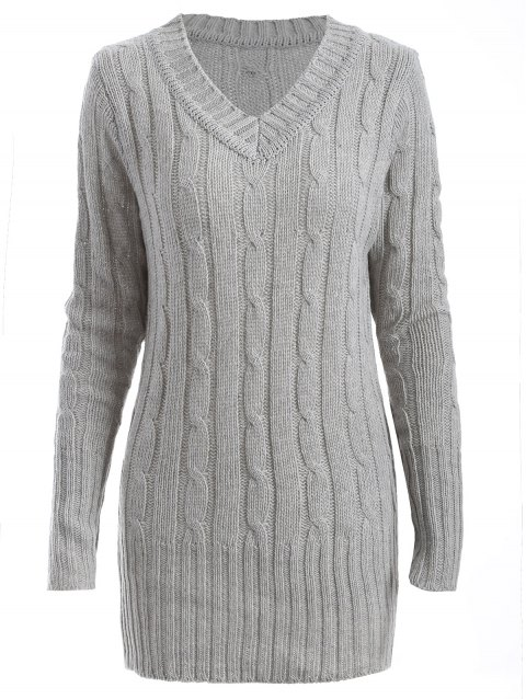 V Neck Cable Knit Longline Sweater - GRAY ONE SIZE