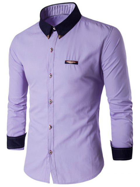 Metal Embellished Contrast Collar Button Up Shirt - PURPLE M