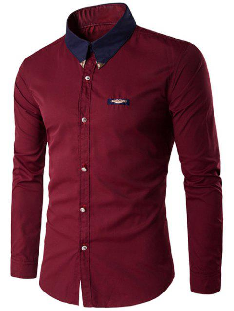 Metal Embellished Contrast Collar Button Up Shirt - WINE RED M