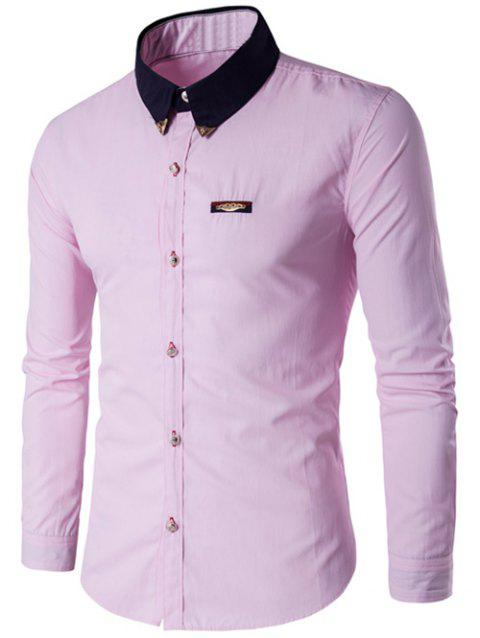 Metal Embellished Contrast Collar Button Up Shirt - PINK M