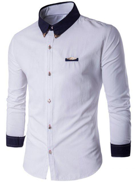 Metal Embellished Contrast Collar Button Up Shirt - WHITE 3XL