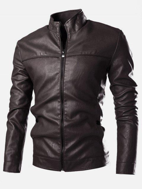 Stand Collar PU-Leather Zip-Up Jacket - COFFEE M