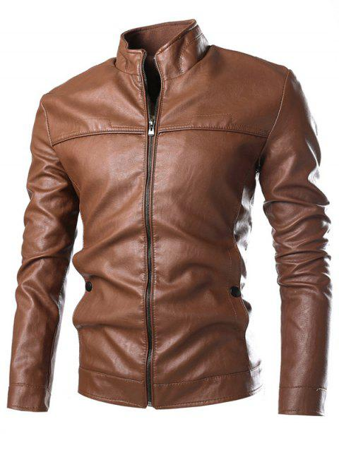 Stand Collar PU-Leather Zip-Up Jacket - BROWN 2XL