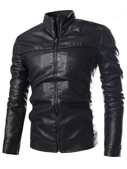Stand Collar PU-Leather Zip-Up Jacket - BLACK M