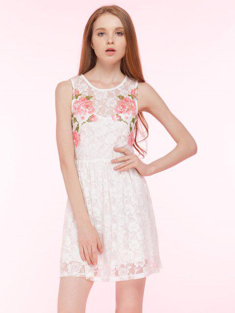 41% OFF  2019 Embroidered Lace Summer Skater Dress In WHITE L ... cf830aca6