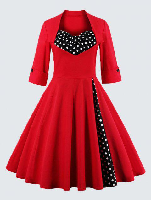 17% OFF] 2019 Polka Dot Plus Size Sweetheart Dress In RED XL ...