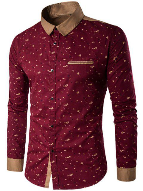 Contrast Insert Floral Printed Button Up Shirt - RED L