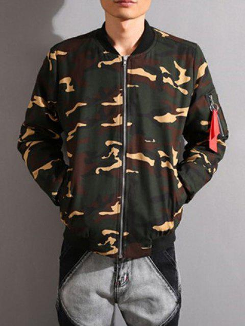 Camouflage Stand Collar Thicken Zip-Up Jacket - ARMY GREEN 2XL