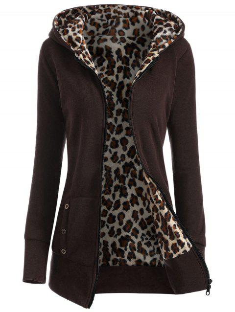 Zipper Fly Thicken Leopard Pattern Brown Hoodie - COFFEE M