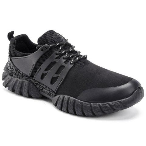 Breathable Colour Spliced Suede Athletic Shoes - BLACK 40