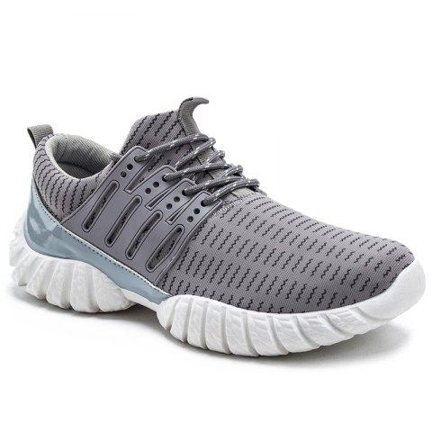 Colour Splicing Tie Up Athletic Shoes - GRAY 42