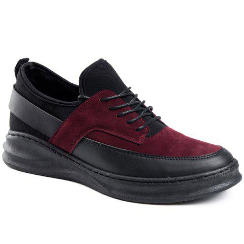 Tie Up PU Leather Casual Shoes - WINE RED 42