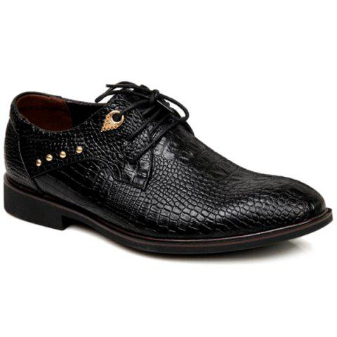 Tie Up Metal Embossed Formal Shoes - BLACK 40