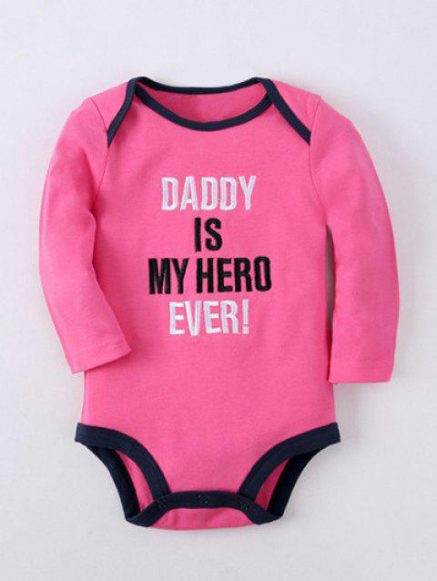 Long Sleeve Letter Embroidery Kids Baby Romper - ROSE RED 80