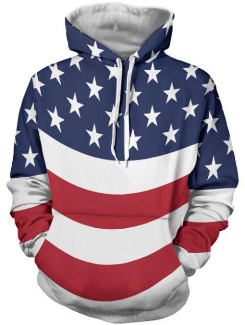 Kangaroo Pocket Stars and Stripes Printed Hoodie - COLORMIX XL